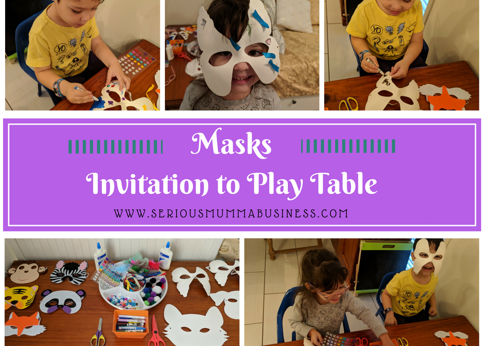 Masks Invitation to Play Table